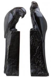 Casa Padrino Designer Bronze Papageien Buchstützen 2er Set - Luxus Kollektion