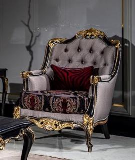 Casa Padrino Luxus Barock Wohnzimmer Sessel Silber / Bordeauxrot / Schwarz / Gold - Handgefertigter Barockstil Sessel mit elegantem Muster - Barock Wohnzimmer Möbel