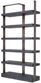 Casa Padrino Luxus Regalschrank Schwarz / Bronze 120, 5 x 40 x H. 230 cm - Eichenfurnier Schrank mit Edelstahlrahmen - Bücherschrank - Luxus Wohnzimmer Möbel