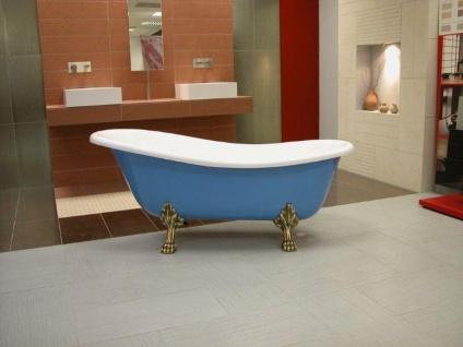 Freistehende Luxus Badewanne Jugendstil Roma Hellblau/Weiß/Altgold 1470mm - Barock Badezimmer