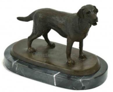 Casa Padrino Luxus Bronze Skulptur Hund Labrador Bronze / Schwarz 23 x 13 x H. 17 cm - Deko Bronzefigur mit Marmorsockel - Vorschau 3