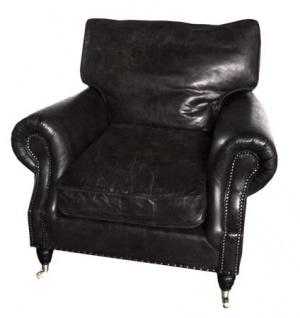 Casa Padrino Luxus Echtleder Vintage Sessel Schwarz - Leder Sessel Art Deco Lounge