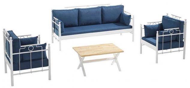 Casa Padrino Jugendstil Gartenmöbel Set Blau / Weiß - 1 Sofa & 2 Sessel & 1 Tisch - Garten & Terrassen Möbel im Jugendstil