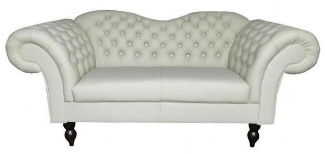 Casa Padrino Chesterfield 2er Sofa Venedig - Echt Leder Weiß