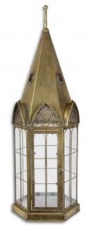 Casa Padrino Jugendstil Laterne Antik Messingfarben 30, 2 x 26, 5 x H. 89, 5 cm - Deko Zinn Laterne im Kirchturm Design