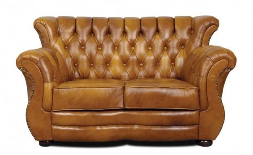 Casa Padrino Luxus Chesterfield Echtleder 2er Sofa Braun 150 x 85 x H. 90 cm - Echtleder Möbel