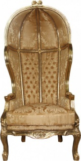 Casa Padrino Barock Thron Sessel Victory Gold Barock Muster / Gold Mod2 - Balloon Chair -Thron Stuhl Tron