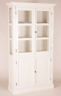Casa Padrino Shabby Chic Landhaus Stil Schrank Buffetschrank Weiß B 110 x H 200 cm - Schrank Esszimmer - Vorschau