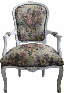 Casa Padrino Barock Salon Stuhl Blumen Muster / Creme / Gold - Antik Design Möbel - Limited Edition