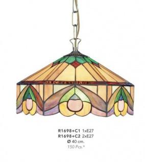 Casa Padrino Tiffany Hängeleuchte Durchmesser 40cm 2-Flammig - Leuchte Lampe Deckenleuchte