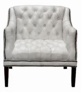 Casa Padrino Luxus Echtleder Wohnzimmer Sessel Weiß / Schwarz 80 x 84 x H. 79 cm - Chesterfield Möbel