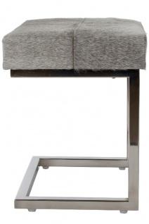 Casa Padrino Luxus Kunstfell Hocker in Patchwork Optik Grau / Silber 45 x 33 x H. 40 cm - Luxus Möbel - Vorschau 2