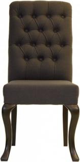Casa Padrino Designer Esszimmer Stuhl ModEF 227 Dunkelgrau / Braun - Hoteleinrichtung - Buchenholz - Chesterfield Design
