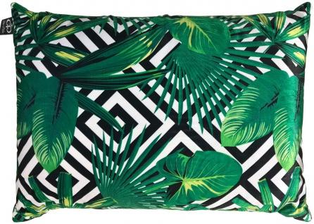 Casa Padrino Luxus Kissen Miami Palm Leaves Schwarz / Weiß / Grün 35 x 55 cm - Feinster Samtstoff - Deko Wohnzimmer Kissen