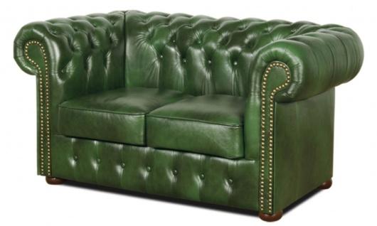 Casa Padrino Chesterfield Echtleder 2er Sofa Grün 160 x 90 x H. 78 cm - Luxus Kollektion