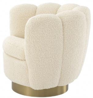 Casa Padrino Luxus Drehsessel Weiß / Messingfarben 95 x 83 x H. 83 cm - Wohnzimmer Sessel mit künstlichem Lammfell - Luxus Möbel - Vorschau 2