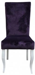 Casa Padrino Esszimmer Stuhl Lila/ Weiß ohne Armlehnen - Barock Möbel
