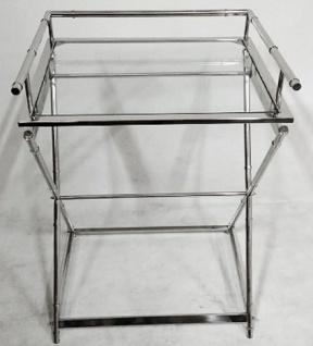 Casa Padrino Luxus Messing Beistelltisch mit Glasplatte Silber 60 x 50 x H. 76 cm - Hotel Möbel