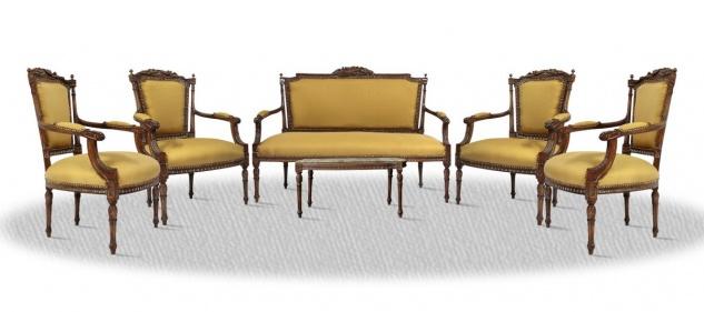Casa Padrino Antik Stil Salon Set mit Sitzbank 4 Stühlen und Tisch - Barock Möbel