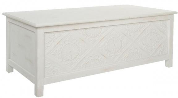Casa Padrino Landhausstil Couchtisch / Truhe Antik Weiß 115 x 60 x H. 45 cm - Handgefertigter Wohnzimmertisch mit Stauraum - Vorschau 3