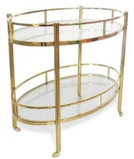 Casa Padrino Luxus Servierwagen Gold 70 x 47 x H. 77 cm - Edelstahl Trolley mit gehärteten Glasplatten - Hotel & Gastronomie Accessoires
