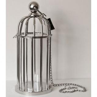 Casa Padrino Luxus Kerzenleuchter Messing vernickelt im Vogelkäfig Design 21 x H. 48 cm - Hotel Restaurant Accessoires Windlicht Ständer Hurricane