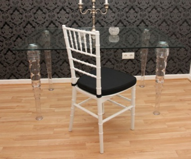 Casa Padrino Designer Acryl Stuhl inkl Sitzkissen Weiß/Schwarz - Ghost Chair white - Polycarbonat Möbel - Polycarbonat Stuhl - Acryl Möbel - Geisterstuhl - Vorschau 4
