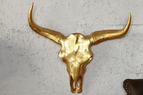 Designer Schädel Matador Gold Longhorn Skull H 53 cm, B 63 cm, T 53 cm, edle Skulptur aus Aluminium, Edel & Prunkvoll