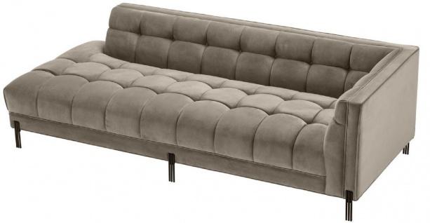 Casa Padrino Luxus Lounge Sofa Greige / Schwarz 223 x 95 x H. 68 cm - Rechtsseitiges Wohnzimmer Sofa mit edlem Samtsoff und 2 Kissen - Vorschau 3