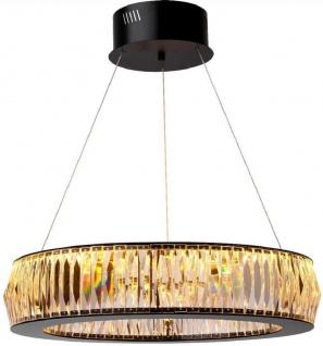 Casa Padrino Luxus LED Kronleuchter Schwarz Ø 63 x H. 170 cm - Moderner runder Kristallglas Kronleuchter - Luxus Qualität