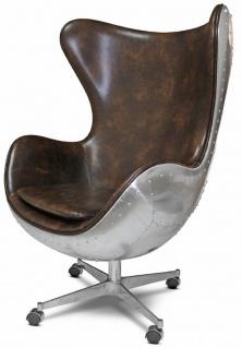 Casa Padrino Echtleder Drehsessel Dunkelbraun / Silber 85 x 78 x H. 112 cm - Leder Sessel in Eiform - Club Sessel - Lounge Sessel - Aluminium Flugzeug Flieger Möbel