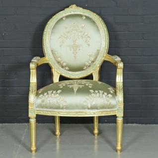 "Casa Padrino Barock Salon Stuhl "" Medaillon"" Mod2 mit Armlehnen Hellgrün / Gold - Antikstil Stuhl"