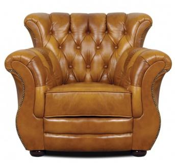 Casa Padrino Luxus Chesterfield Echtleder Sessel Braun 95 x 85 x H. 88 cm - Echtleder Möbel
