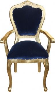 Casa Padrino Luxus Barock Esszimmer Set Royalblau / Gold - 1 Esstisch mit Glasplatte und 6 Stühle - Barock Esszimmermöbel - Made in Italy - Luxury Collection - Vorschau 3