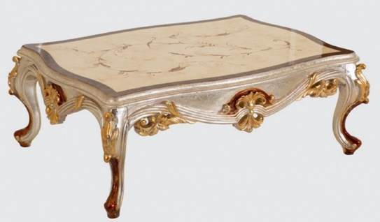 Casa Padrino Luxus Barock Wohnzimmer Set Blau / Kupfer / Silber / Braun / Gold - 2 Sofas & 2 Sessel & 1 Couchtisch - Handgefertigte Wohnzimmer Möbel im Barockstil - Edel & Prunkvoll - Vorschau 5