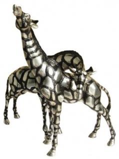 Casa Padrino Giraffen Bronzefiguren Set Silber / Schwarz 40 x 9 x H. 52 cm - Luxus Qualität