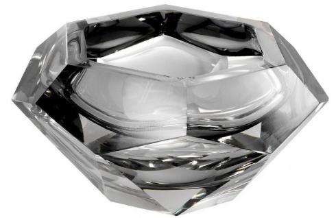 Casa Padrino Luxus Kristallglas Schüssel Grau 20 x 20 x H. 9, 5 cm - Sechseckige Deko Schüssel - Luxus Accessoires