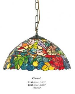 Casa Padrino Tiffany Hängeleuchte 40cm Gelb / Grün / Rot Mod2 - Glas Mosaik Decken Lampe Leuchte Barock Restaurant Beleuchtung