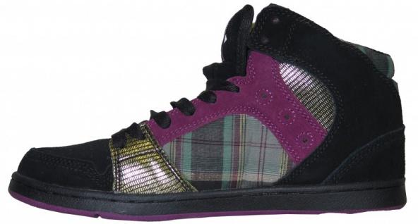Etnies Skateboard Damen Schuhe Plaid Perry Mid Black/ Purple Plaid Schuhe 746909