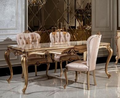 Casa Padrino Luxus Barock Esszimmer Set Weiß / Rosa / Gold - 1 Esstisch & 6 Esszimmerstühle - Edle Esszimmer Möbel im Barockstil