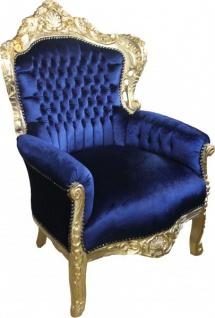 Casa Padrino Barock Sessel King Royalblau / Gold 85 x 85 x H. 120 cm