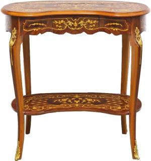 Casa Padrino Barock Beistelltisch mit Schublade Braun Intarsien - Antik Stil Beistelltisch - Telefontisch - Möbel