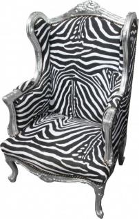 Casa Padrino Barock Lounge Thron Sessel Zebra / Silber - Ohren Sessel - Ohrensessel Tron Stuhl