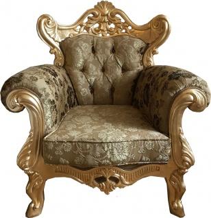 Casa Padrino Luxus Barock Sessel Gold Muster / Gold - Prunkvoller Wohnzimmer Sessel mit elegantem Blumenmuster - Barock Möbel