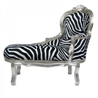 Casa Padrino Barock Kinder Chaiselongue Zebra / Silber - Kindermöbel - Möbel Barock