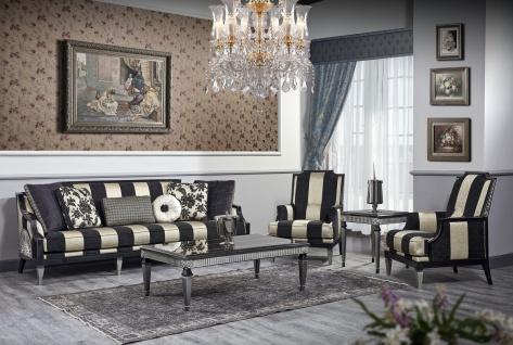 Casa Padrino Luxus Barock Wohnzimmer Set Schwarz / Gold / Silber - 1 Sofa & 2 Sessel & 1 Couchtisch & 1 Beistelltisch - Barockmöbel
