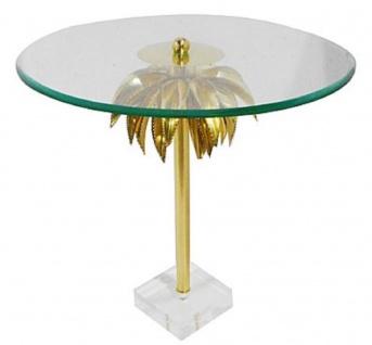 Casa Padrino Designer Beistelltisch Palme Messing Ø 55 x H. 55 cm - Runder Stahl Tisch mit Glasplatte und Acryl Fuß - Wohnzimmer Möbel