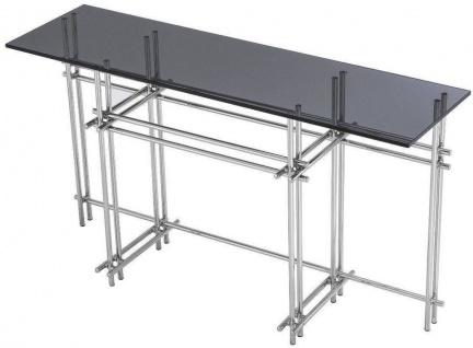 Casa Padrino Designer Konsole Silber / Grau 131 x 36, 5 x H. 73 cm - Edelstahl Konsolentisch mit Glasplatte - Designer Möbel - Luxus Qualität - Vorschau 4