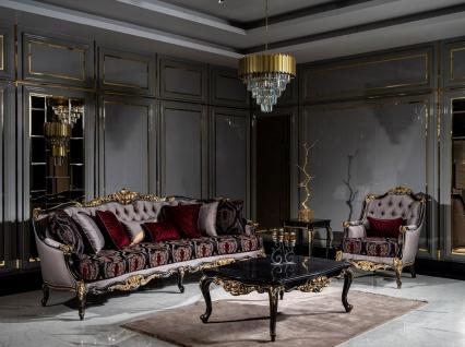 Casa Padrino Luxus Barock Wohnzimmer Set Silber / Bordeauxrot / Schwarz / Gold - 2 Sofas & 2 Sessel & 1 Couchtisch - Prunkvolle Wohnzimmer Möbel im Barockstil