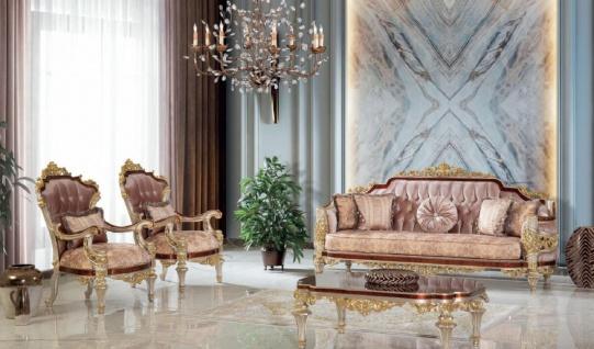 Casa Padrino Luxus Barock Wohnzimmer Set Rosa / Braun / Silber / Gold - 2 Sofas & 2 Sessel & 1 Couchtisch - Handgefertigte Wohnzimmer Möbel im Barockstil - Edel & Prunkvoll